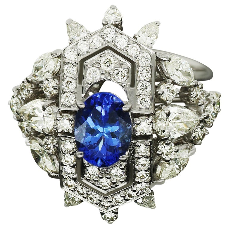 Amwaj Jewellery Marquise and Round Cut Diamond Ring with Tanzanite For Sale