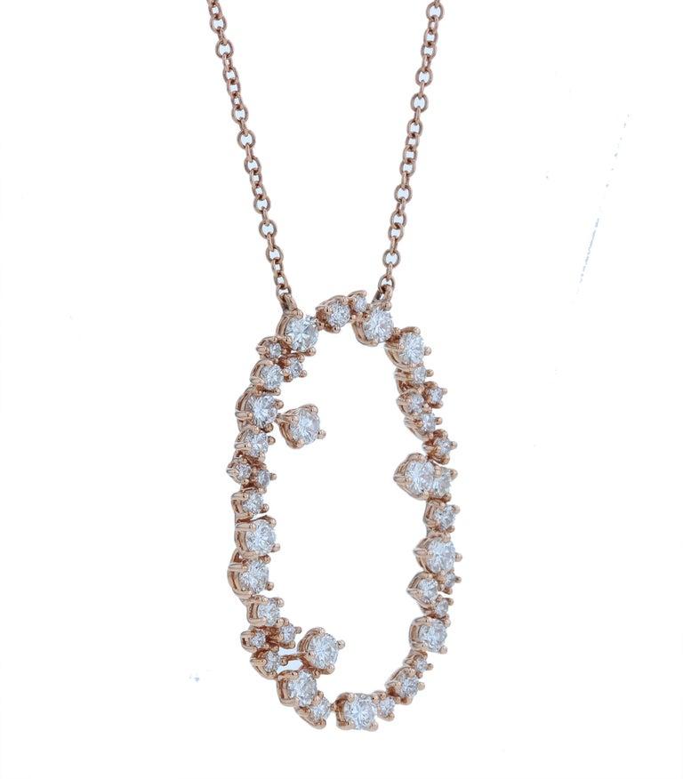 Romantic Amwaj Jewelry 18 Karat Rose Gold Pendant For Sale