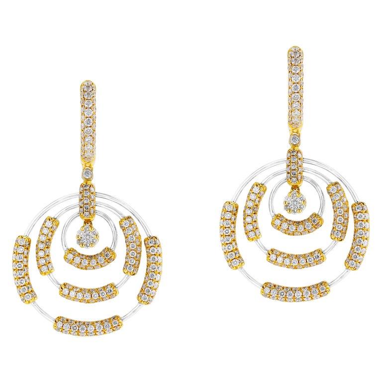 Amwaj Jewelry 18 Karat White Gold Earrings For Sale