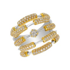 Amwaj Jewelry 18 Karat Yellow Gold and Diamond Ring
