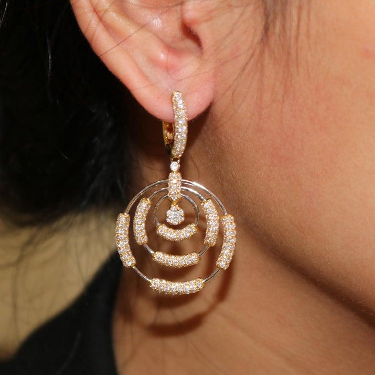 Round Cut Amwaj Jewelry 18 Karat White Gold Earrings For Sale