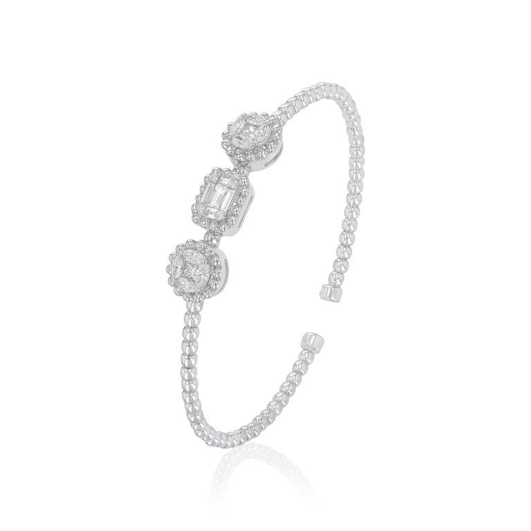 Modern Amwaj Jewelry Baguette and Round Cut Diamond Bracelet For Sale
