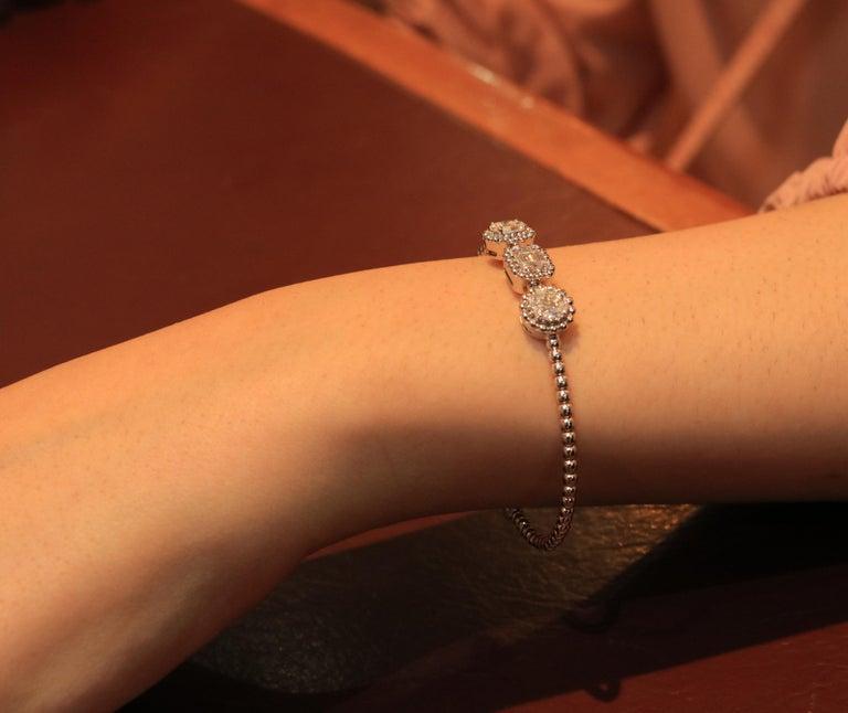 Baguette Cut Amwaj Jewelry Baguette and Round Cut Diamond Bracelet For Sale