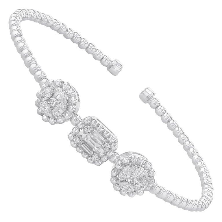 Amwaj Jewelry Baguette and Round Cut Diamond Bracelet For Sale