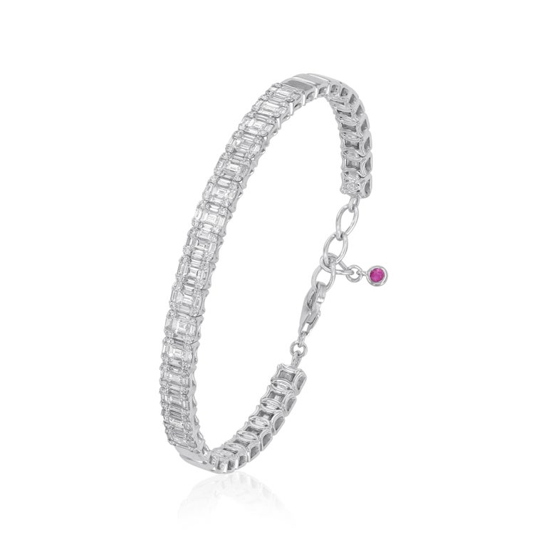Modern Amwaj Jewelry Baguette Cut Diamond Bracelet For Sale