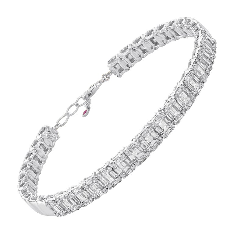 Amwaj Jewelry Baguette Cut Diamond Bracelet For Sale