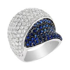 Amwaj Jewelry Blue Sapphire Ring in 18 Karat Gold
