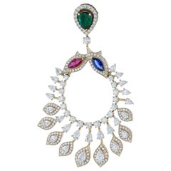 Amwaj Jewelry Emerald, Sapphire and Ruby Chandelier Earrings in 18 Karat Gold