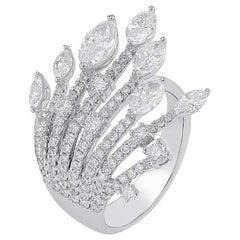Amwaj Jewelry Marquise and Round Cut Diamond Ring in 18 Karat White Gold