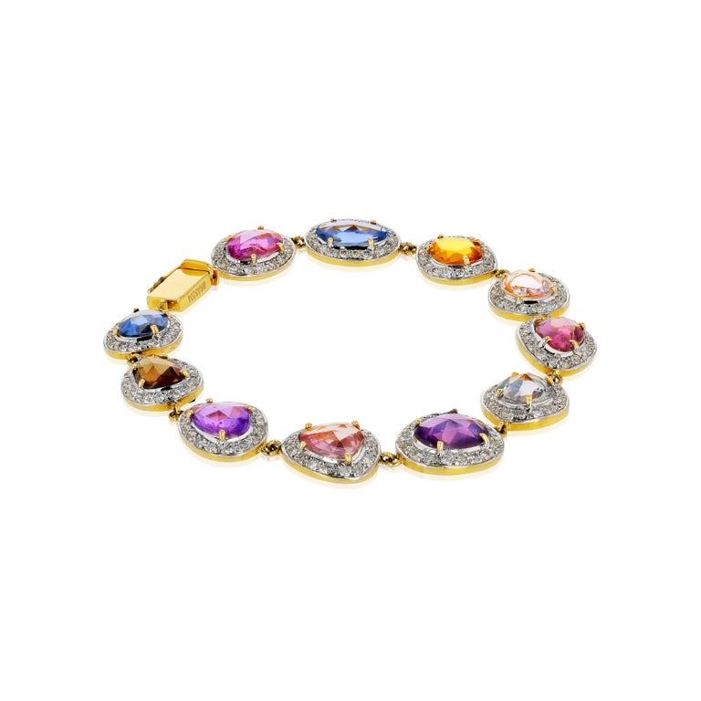Contemporary Amwaj Jewelry Multi-Color Sapphires Bracelet For Sale