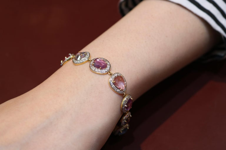 Round Cut Amwaj Jewelry Multi-Color Sapphires Bracelet For Sale