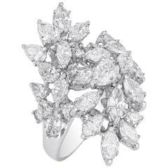 Amwaj Jewelry Pear and Marquise Cut Diamonds Ring in 18 Karat White Gold