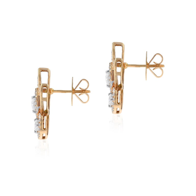 Artist Amwaj Jewelry Pear and Marquise Cut Rose Gold Earrings For Sale