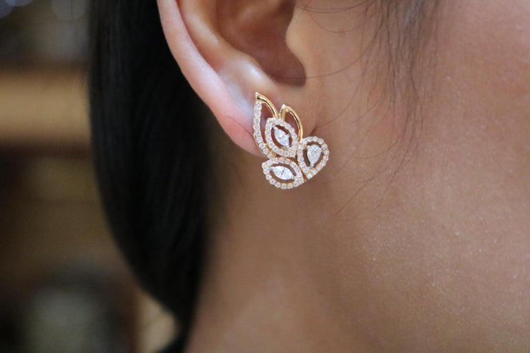 Pear Cut Amwaj Jewelry Pear and Marquise Cut Rose Gold Earrings For Sale