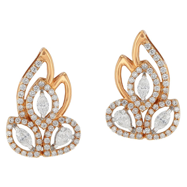 Amwaj Jewelry Pear and Marquise Cut Rose Gold Earrings For Sale