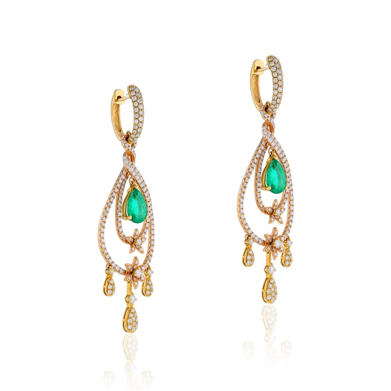Contemporary Amwaj Jewelry Rose Gold with Emerald Drop Earrings For Sale