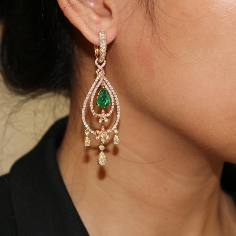 Amwaj Jewelry Rose Gold with Emerald Drop Earrings For Sale 2