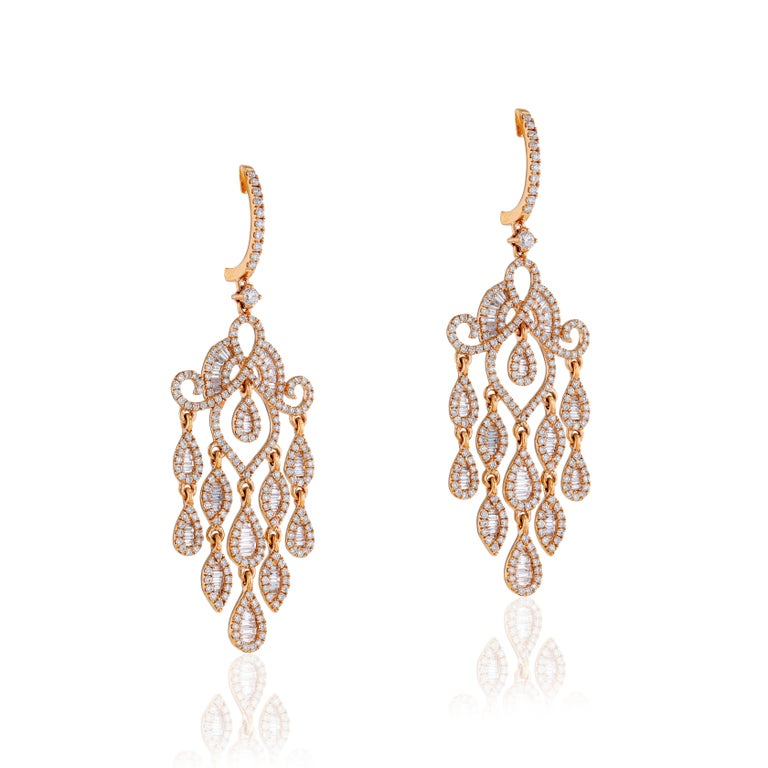 Contemporary Amwaj Jewelry Rose Gold with White Diamonds Earrings For Sale