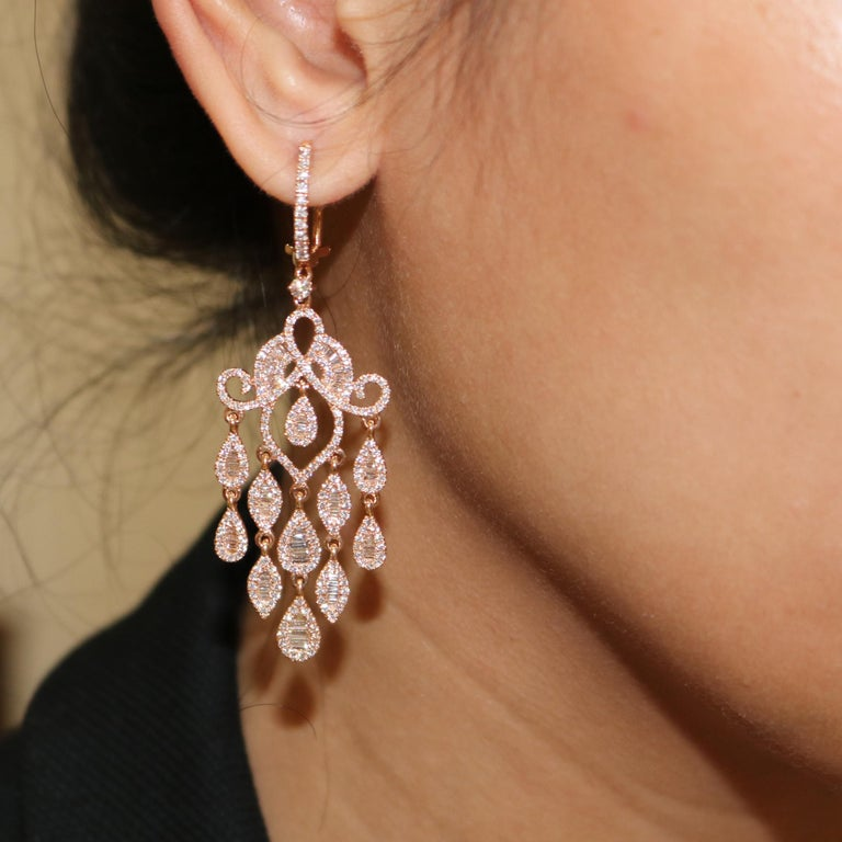Round Cut Amwaj Jewelry Rose Gold with White Diamonds Earrings For Sale