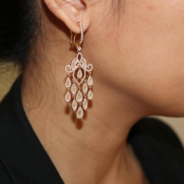 Women's Amwaj Jewelry Rose Gold with White Diamonds Earrings For Sale