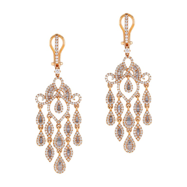 Amwaj Jewelry Rose Gold with White Diamonds Earrings For Sale