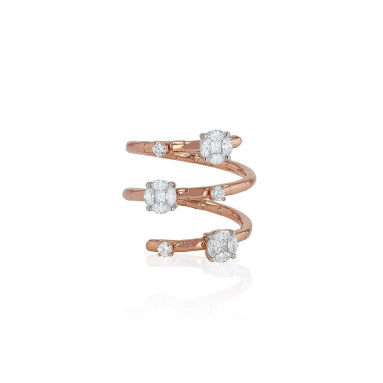 Romantic Amwaj Jewelry Round Cut Diamond Ring in 18 Karat Rose Gold For Sale