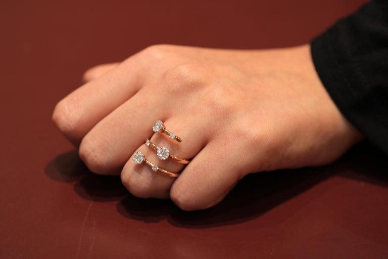 Amwaj Jewelry Round Cut Diamond Ring in 18 Karat Rose Gold In New Condition For Sale In Abu Dhabi, Abu Dhabi