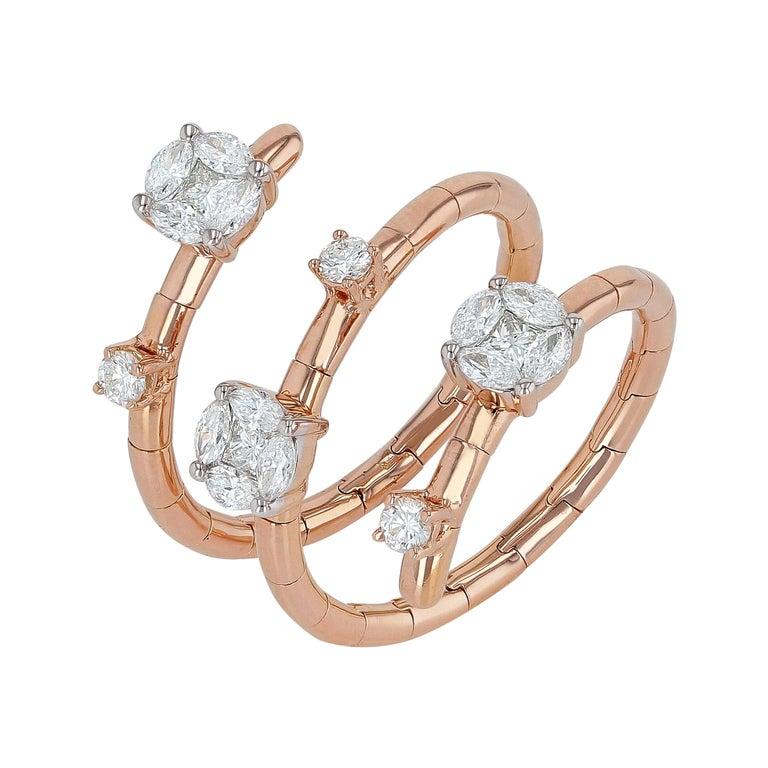 Amwaj Jewelry Round Cut Diamond Ring in 18 Karat Rose Gold For Sale