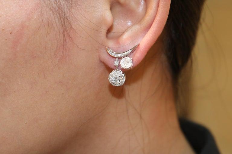 Round Cut Amwaj Jewelry Round Diamond Earrings For Sale