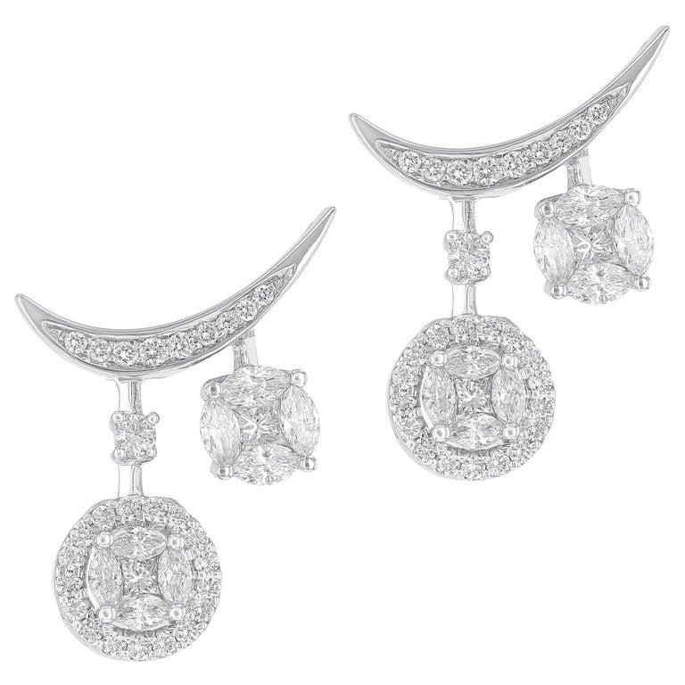 Amwaj Jewelry Round Diamond Earrings For Sale