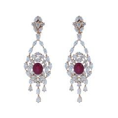 Amwaj Jewelry Round Ruby and Diamond Earrings in 18 Karat Rose Gold