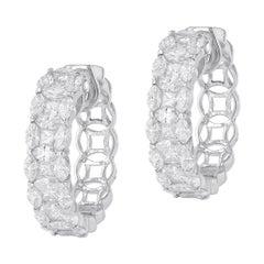 Amwaj Jewelry White Diamond Hoop Earrings