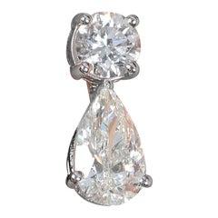 Amwaj Jewelry White Diamonds Earrings in 18 Karat White Gold