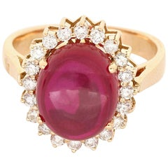Amwaj Oval Synthetic Ruby and Diamond Ring