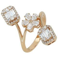 Amwaj Rose Gold 18 Karat Ring with Diamonds
