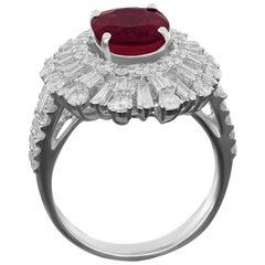 Amwaj White Gold 18 Karat Ring with Diamonds and Ruby