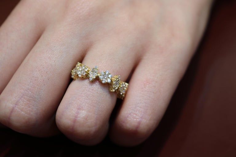 Modern Amwaj Yellow Gold Ring with Diamonds For Sale