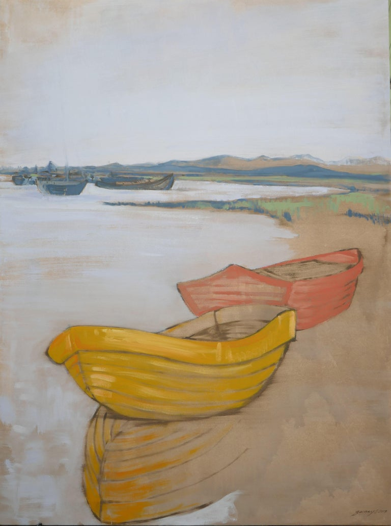 This is the other half of the pair. The boats in a harbor. It is a painting of a paining of a sketch I did on the south coast of England in my youth. I think it is the rough and textual under canvas shining through in the clear of the reflection in