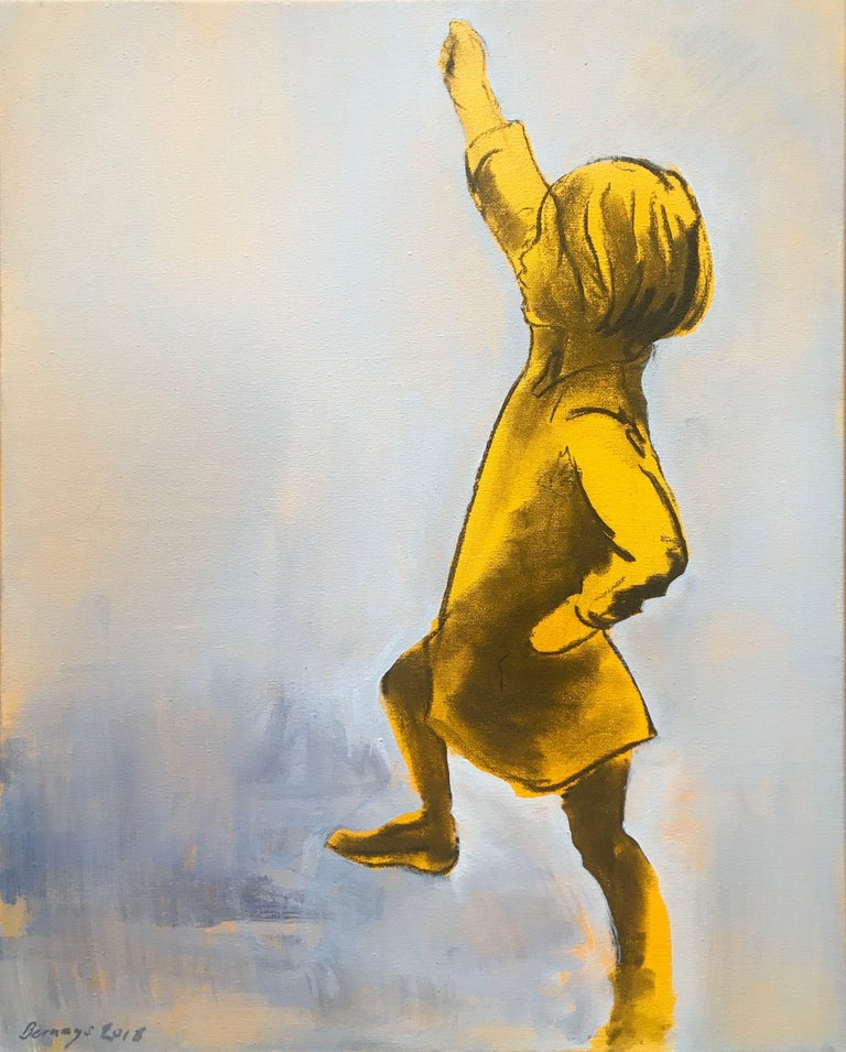I like the self belief. The knowledge and comfort in her own skin. The world is simple here and she is King. Little does she know.    :: Painting :: Contemporary :: This piece comes with an official certificate of authenticity signed by the artist