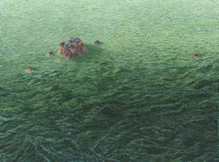Amy Casey, acrylic painting, tiny houses, ocean, sea, detailed, photo realist