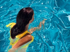 ''Hydra'' Contemporary Underwater Portrait Painting of a Girl in a Pool, Yellow