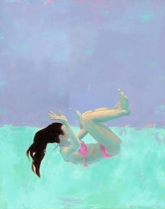 ''Spin 2'' Contemporary Underwater Portrait Painting in Neon Colors