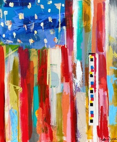 American Flag by Amy Dixon, Acrylic on Canvas Contemporary Abstract Painting