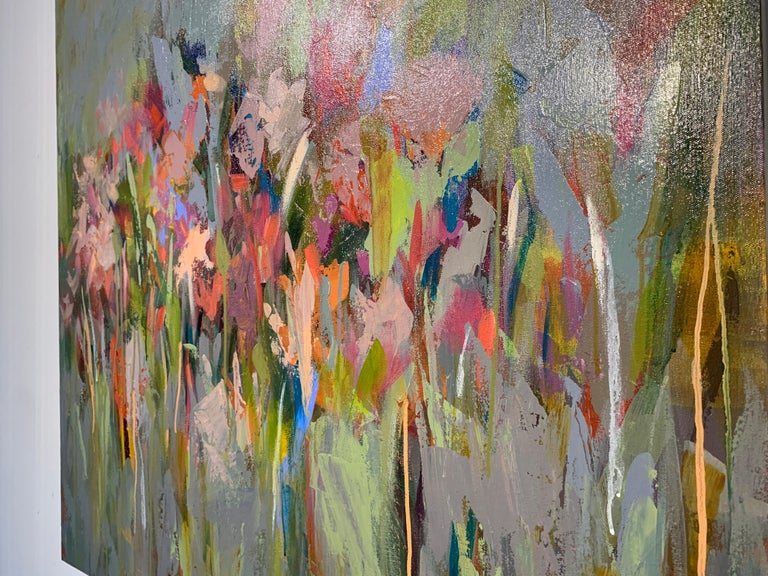 This gorgeous abstract floral by Amy Dixon is entitled 'And then it Happened.'  With a beautiful, vibrant palette the artist has miraculously incorporated a variety of colors that might not normally be paired, creating a harmonious palette, no easy