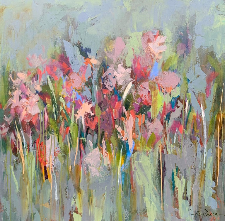 """Amy Dixon Abstract Painting - 'And then it Happened"""" Large Square Abstract Floral on Canvas"""