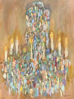 Amy Dixon - Chandelier Degas, Post-Impressionist Vertical Mixed Media on Canvas Painting