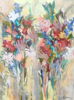 Fleurs de Marché, Amy Dixon 2018 Floral Acrylic on Canvas Still-Life Painting