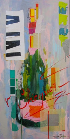 Get Your Veuve On by Amy Dixon, Abstract Still Life Acrylic on Canvas Painting