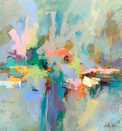 Keeping the Faith by Amy Dixon, Acrylic on Canvas Abstract Square Painting