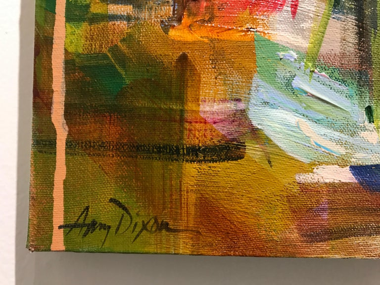 Key to Her Heart by Amy Dixon, Small 2019 Floral Abstracted Acrylic Painting For Sale 3